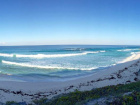 Panoramic view from oceanfront hilltop