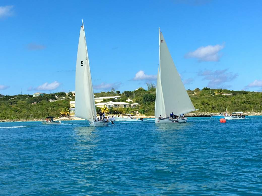 Grotto Bay Regatta Boats in front of property