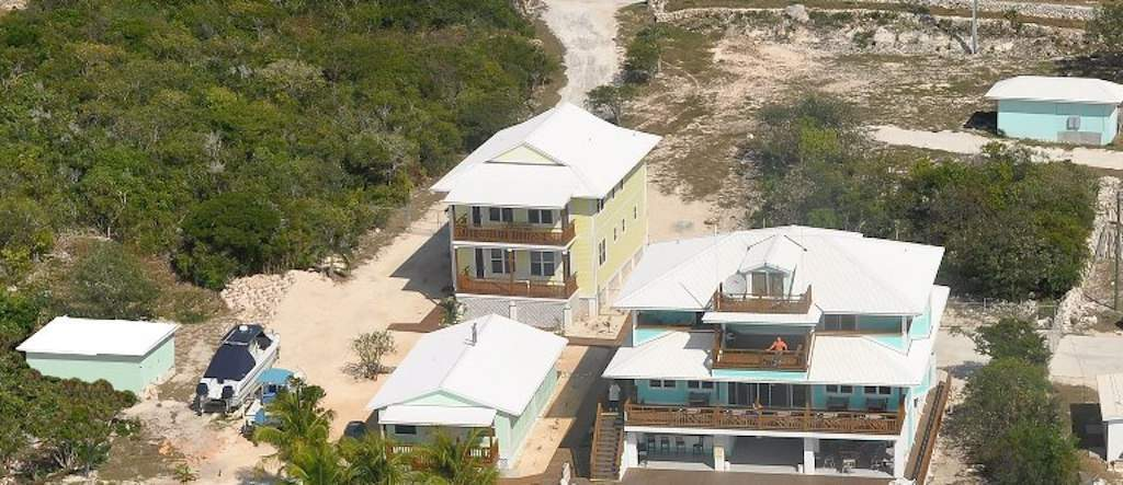 Aerial of buildings on lot